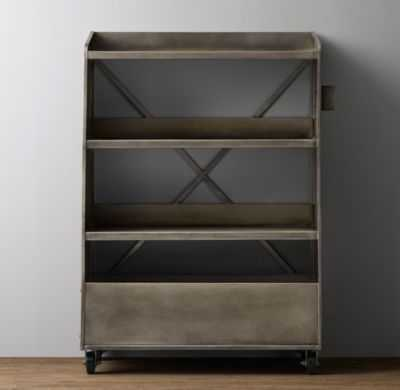 vintage library book cart bookcase - RH