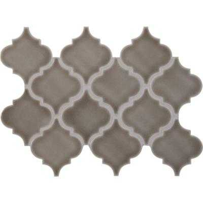 Dove Gray Arabesque 10-1/2 in. x 15-1/2 in. x 8 mm Glazed Ceramic Mesh-Mounted Mosaic Wall Tile (11. - Home Depot