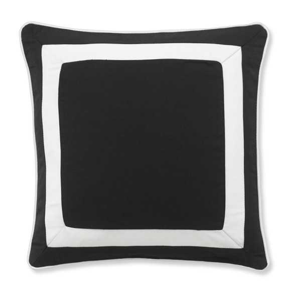 """Outdoor Solid Pillow Cover With White Border, Black - 20"""" sq. - Insert sold separately - Williams Sonoma"""