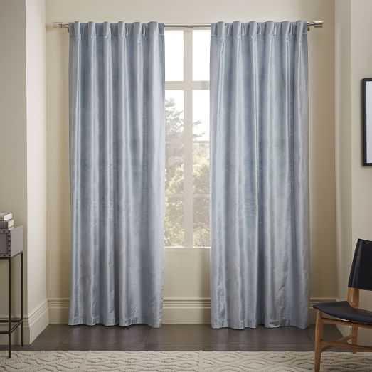"Luster Velvet Curtain - Dusty Blue - Unlined - 124""L - West Elm"