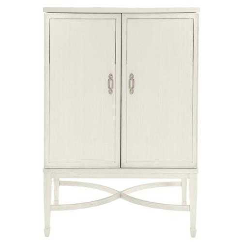Gretta Ivory Hollywood Regency Steel Inlay Bar Cabinet - Kathy Kuo Home