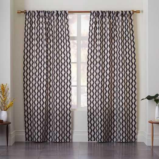 Rhombi Flocked Curtain - West Elm