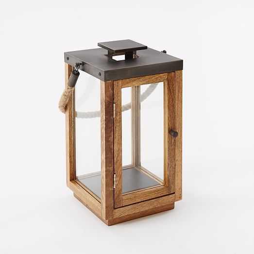 Wood  Rope Lantern - Short - West Elm