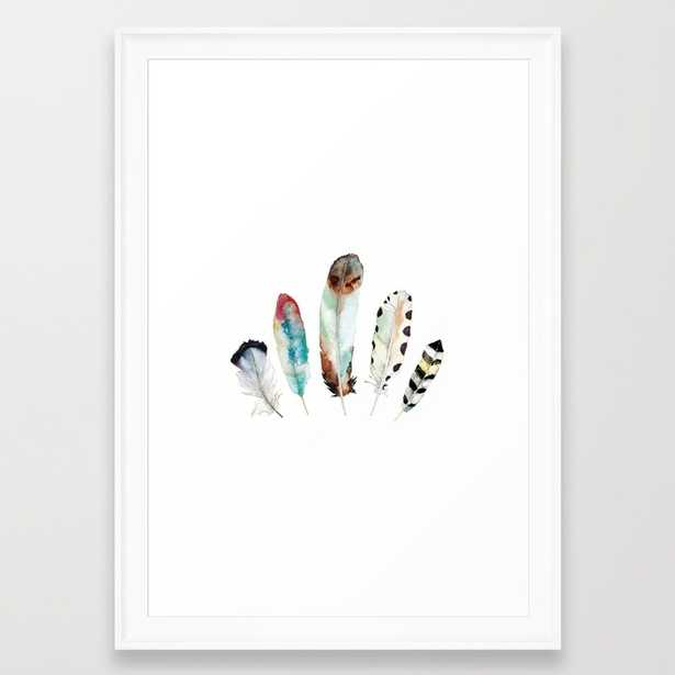 """5 Feathers No. 9 - FRAMED ART PRINT/ SCOOP WHITE SMALL (15"""" X 21"""") - Society6"""