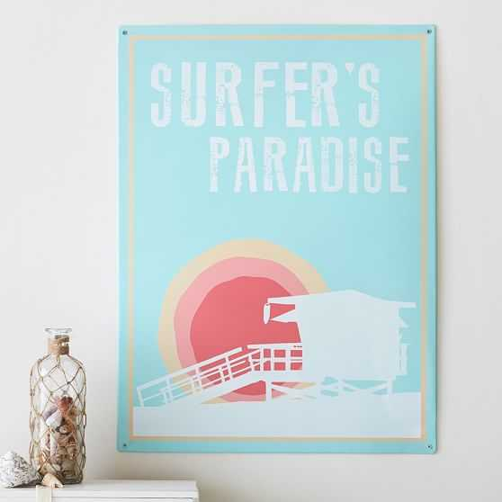 Surfer's Paradise Metal Sign - Pottery Barn Teen