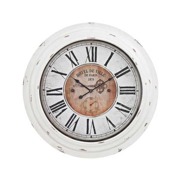 Theodore Wall Clock In Antique White - Rosen Studio