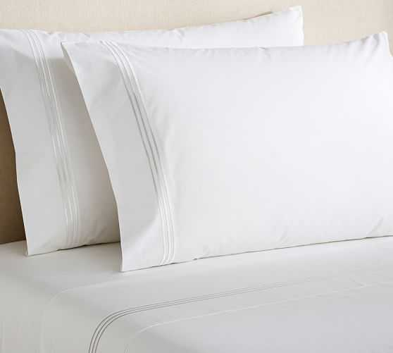 Grand Embroidered 200 Thread Count Sheet Set - King, White - Pottery Barn