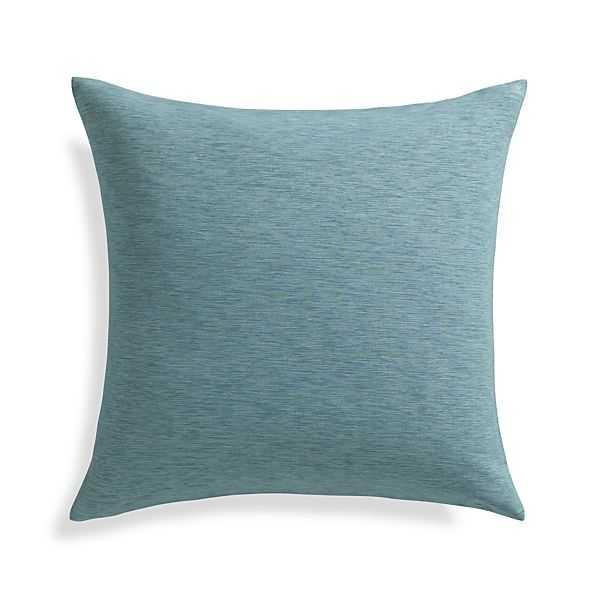 """Linden Ocean Blue 18"""" Pillow- Down-alternative insert - Crate and Barrel"""