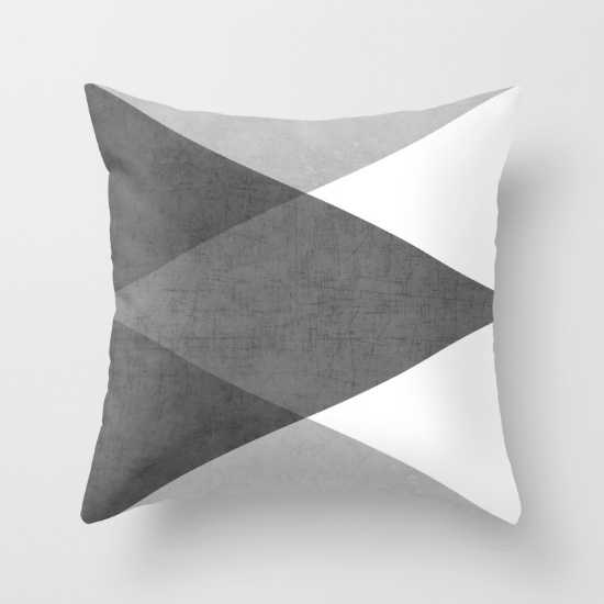 """black and white triangles-20"""" x 20""""-Insert included - Society6"""