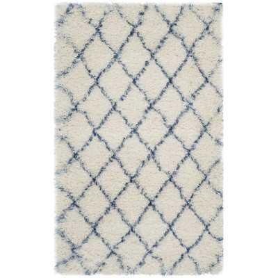 "Moroccan Shag Ivory & Blue Geometric Contemporary Area Rug - 3'3"" x 5'3"" - Wayfair"