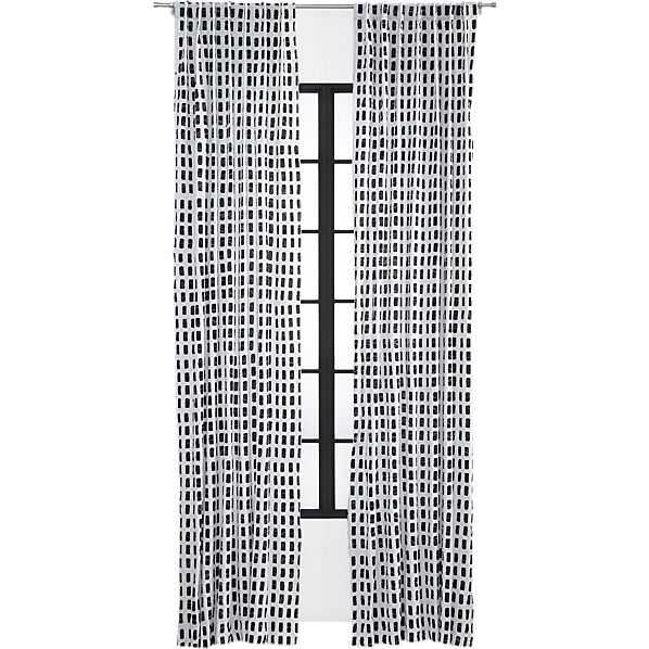 "Korben plaid curtain panel 48""x84"" - CB2"