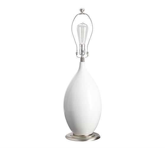 Emilia Ceramic Table Lamp - White - Pottery Barn