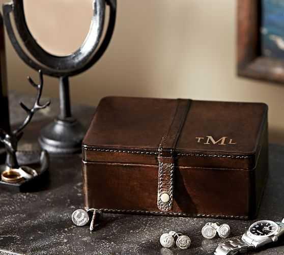 Saddle Leather Cuff Link Box - Pottery Barn