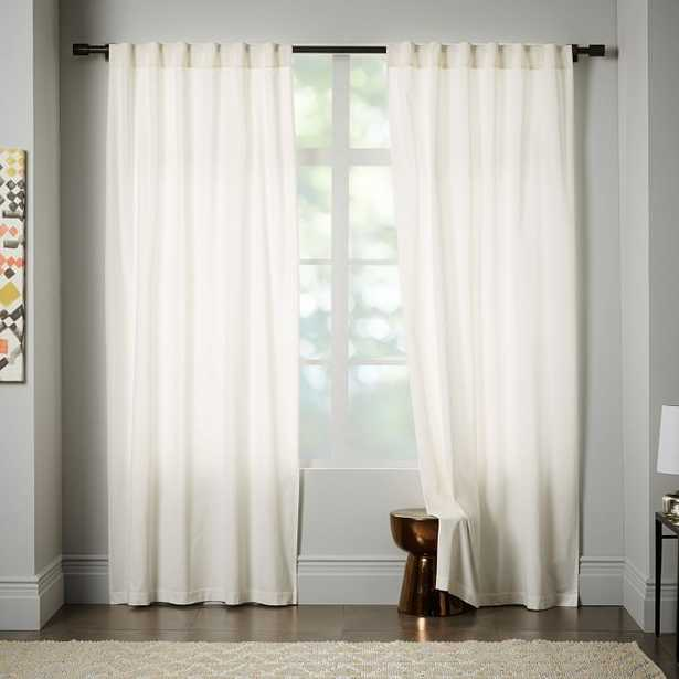 "Velvet Pole Pocket Curtain - Ivory-Blackout Lining-96""-Set of 2 - West Elm"