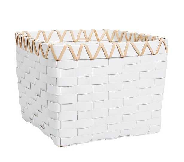 White & Espresso Emory Basket-White - Pottery Barn Kids