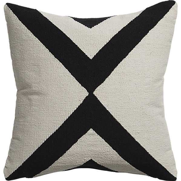 """Xbase 23"""" pillow with down-alternative insert, Ivory and Black - CB2"""