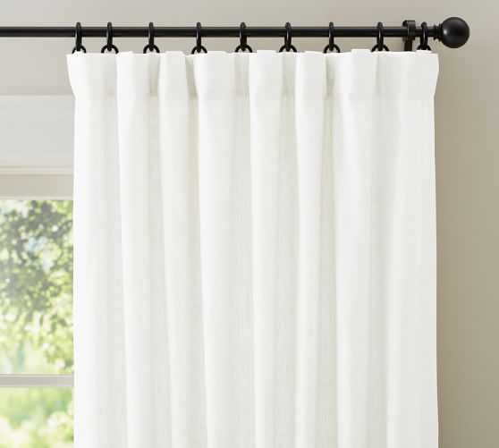 "Emery Linen/Cotton Drape - Single-Width- Cotton Lining-White-108"" - Pottery Barn"
