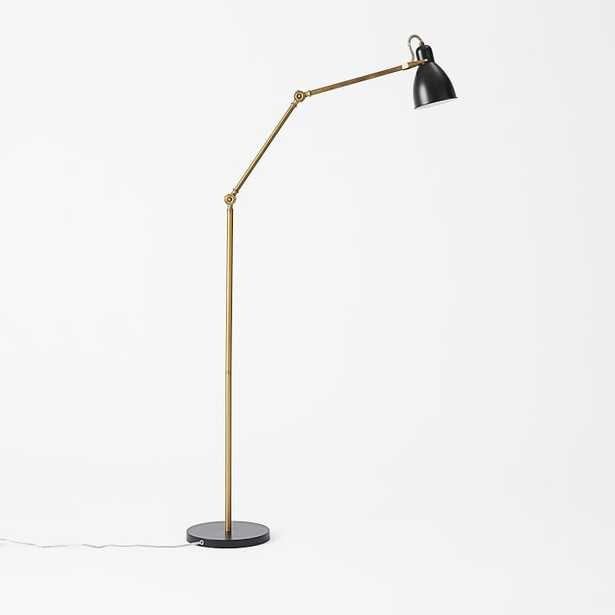 Industrial Task Floor Lamp - Black + Brass - West Elm