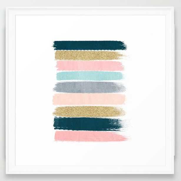 """Zara - Brushstroke glitter trendy girly art print -22"""" x 22"""" -Framed (White)- No mat - Society6"""