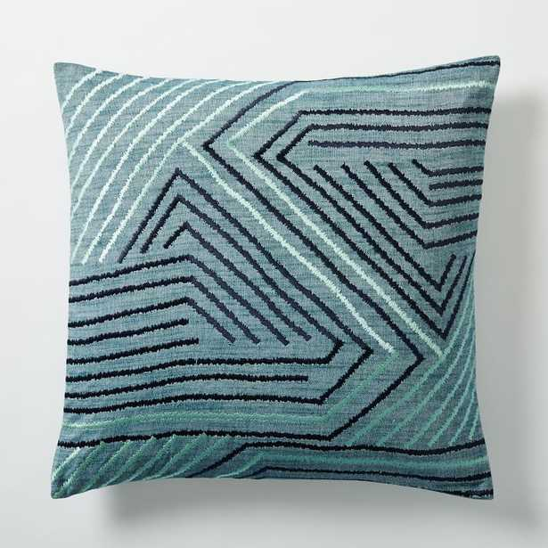 Embroidered Maze Pillow Cover - Blue Lagoon - West Elm