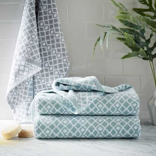Coyuchi Diamond Jacquard Towel - Bath,  Pale Dusty Aqua - West Elm