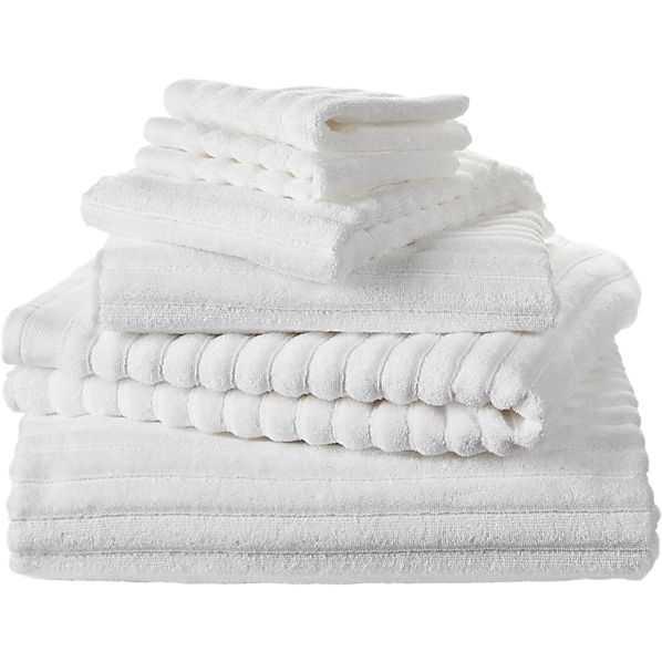 6-piece channel white cotton bath towel set - CB2
