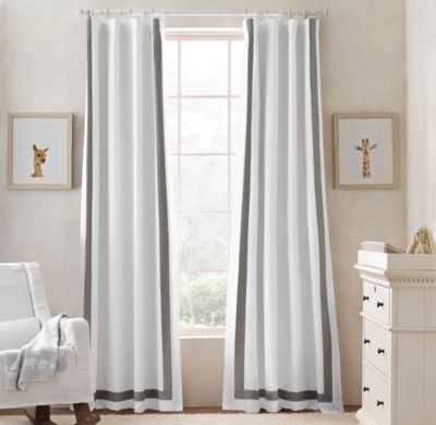 "Appliquéd frame drapery panel - Optic White/Grey, 96""L - RH Baby & Child"