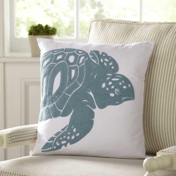 "Turtle Undersea Pillow Cover -18""x18""-Gray/Blue-No Insert - Birch Lane"