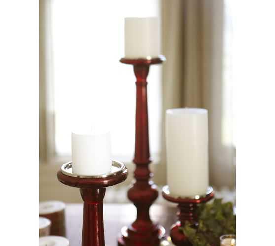 Red Mercury Glass Pillar Holders - Pottery Barn