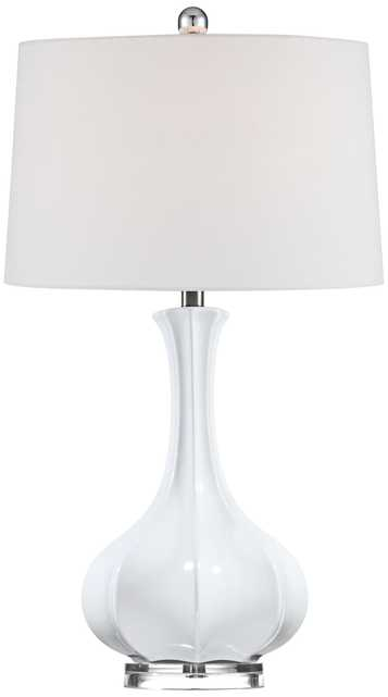 Aurion Fluted Ceramic Gourd Table Lamp - Lamps Plus
