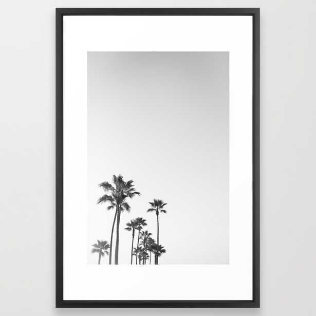 """Black and White California Palms Art Print - 26"""" x 38"""" - Vector Black Frame with Mat - Society6"""