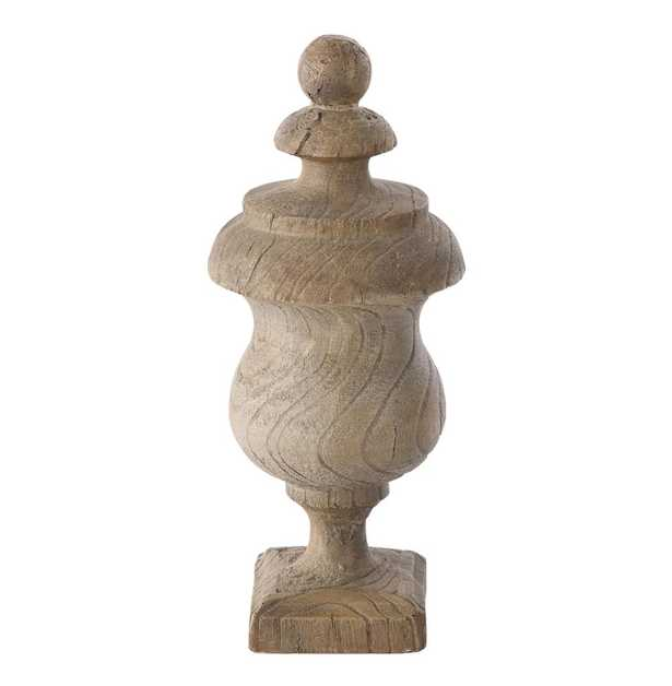 Pair Arlong Antique Oak Finished French Country Outdoor Urn - Kathy Kuo Home