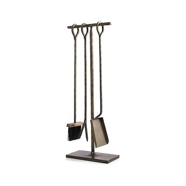 Antiqued Brass Fireplace Tool Set - Crate and Barrel