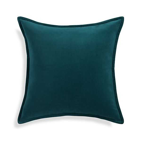 """Brenner Teal Blue 20"""" Pillow with Feather-Down Insert - Crate and Barrel"""