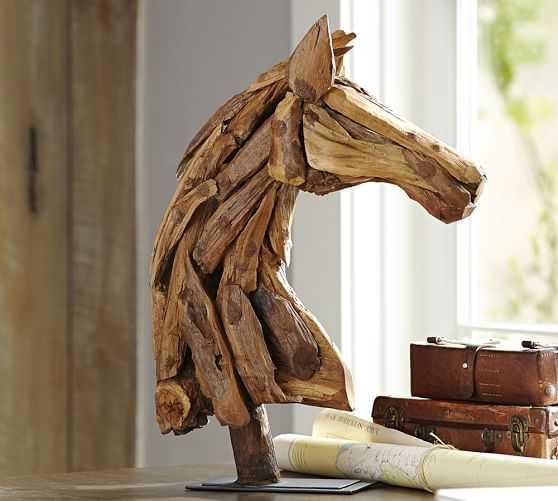 PIECED WOOD HORSE HEAD - Pottery Barn