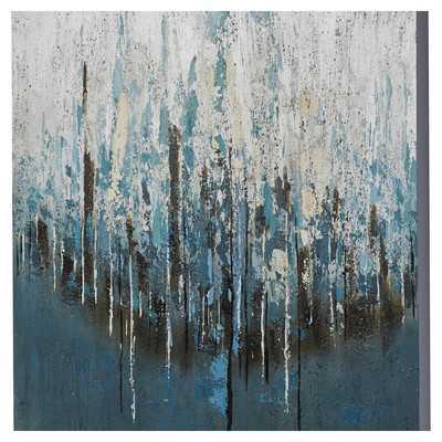 "Splash Painting Print on Wrapped Canvas - 39.4"" H x 39.4"" W x 1.5"" D - Unframed - Wayfair"