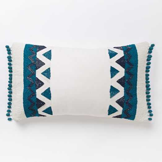 """Zigzag Border Lumbar Pillow Cover-  Blue Teal- 12""""x21"""" - Insert Sold Separately - West Elm"""