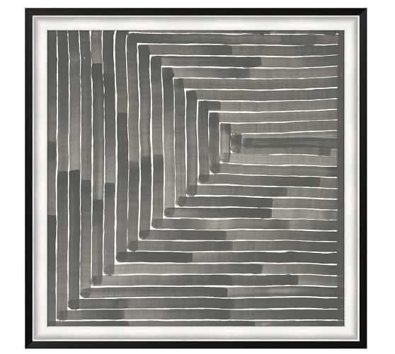 Neutral Labyrinth Print - 45.5x45.5, Framed - Pottery Barn