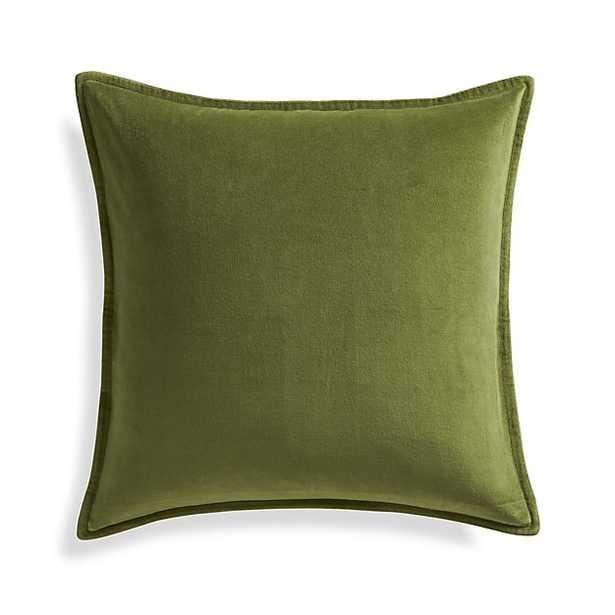 "Brenner Leaf Green 20"" Velvet Pillow with Down-Alternative Insert - Crate and Barrel"