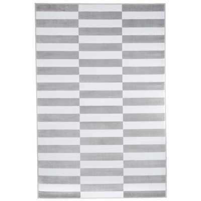Gray & White Checkered Stripes Area Rug - Wayfair