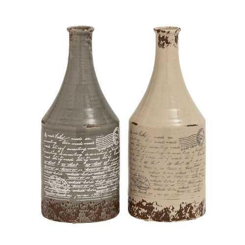 "2 Piece Themed Classy Ceramic Vase Set - 16""H - Wayfair"