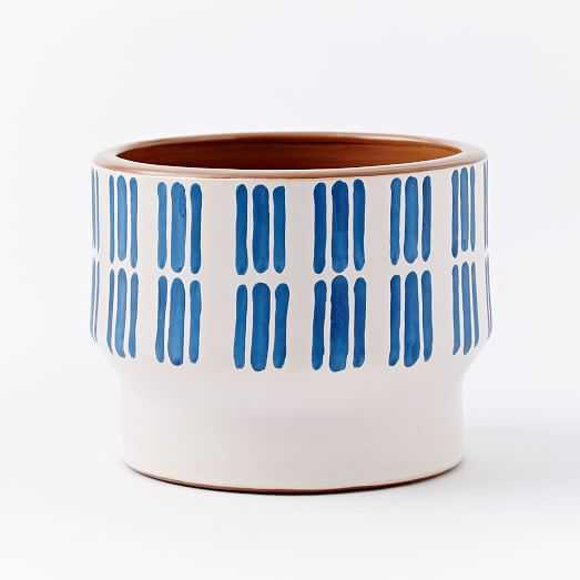 Peruvian White/Blue Planter - White/Blue - West Elm