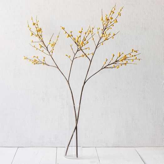 Faux Ilex Berry Stem - Yellow - West Elm