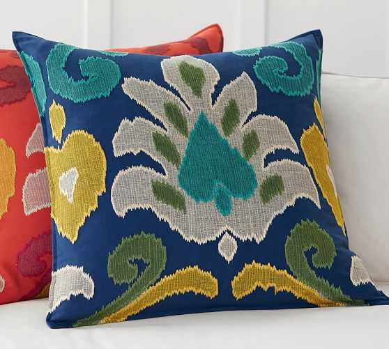 """ELIN IKAT APPLIQUE PILLOW COVER - COOL MULTI - 24"""" square - Insert Sold Separately - Pottery Barn"""