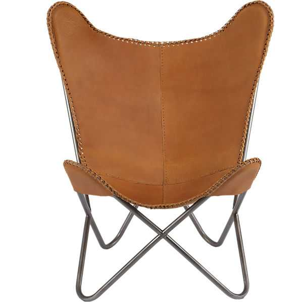 1938 tobacco leather butterfly chair - CB2