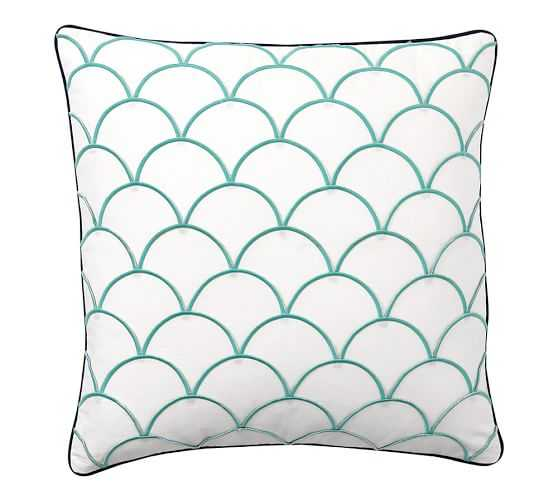 Scallop Embroidered Pillow Cover - Aqua/Blue - 24sq. - Insert Sold Separately - Pottery Barn