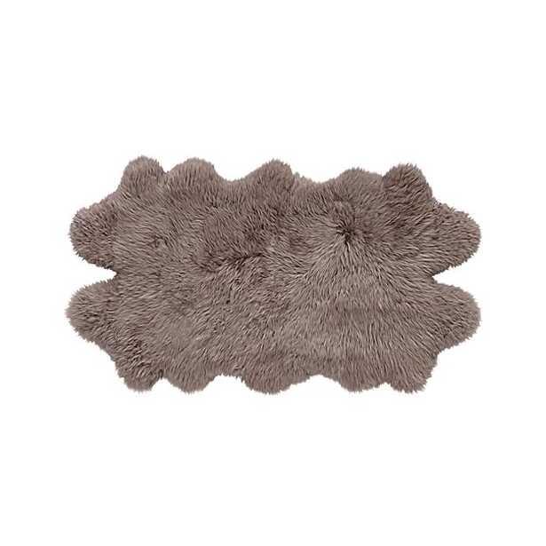 """Sheepskin Taupe 21""""x37"""" Throw/Rug - Crate and Barrel"""