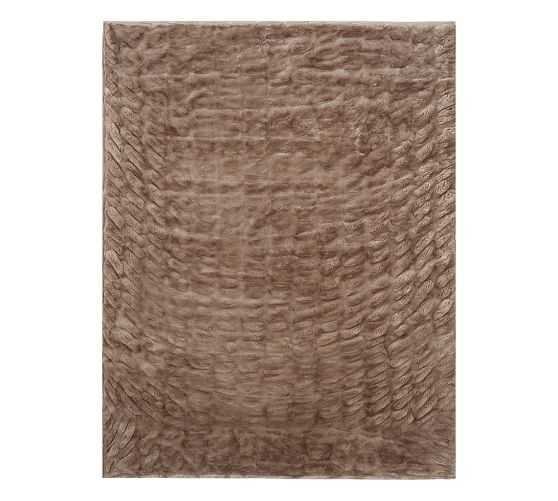 """Ruched Faux Fur Throw-50""""x60""""-Taupe - Pottery Barn"""
