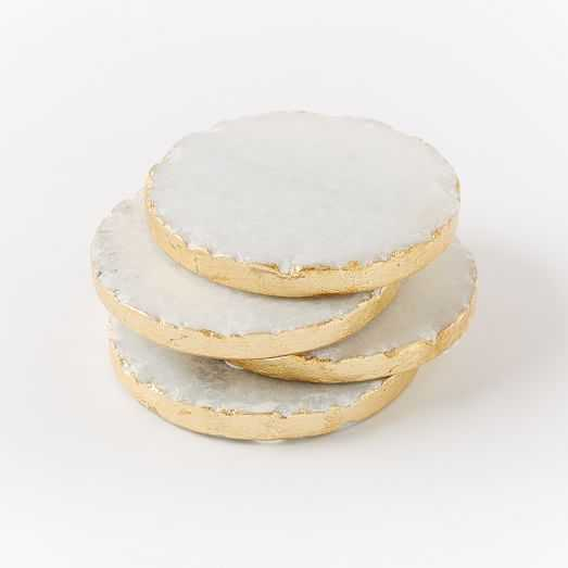 Round Stone Coasters - White/Gold - Set of 4 - West Elm