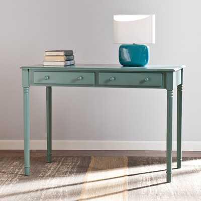 Merritt 2 Drawer Writing Desk in Agate Green - Wayfair